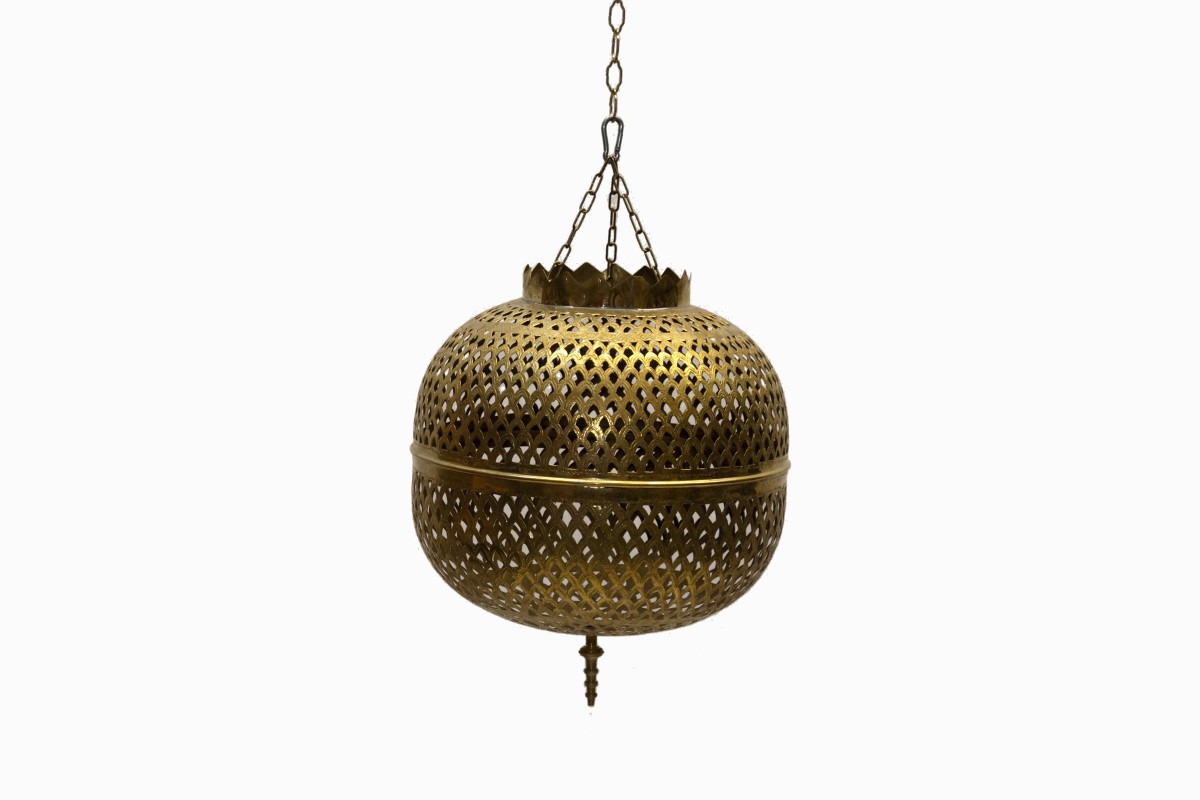 Large brass filigree lantern