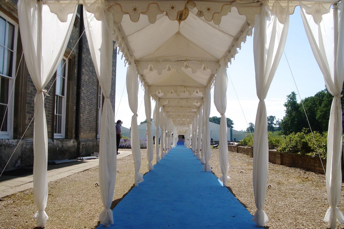 The walkway at Althrop leading to the main marquee