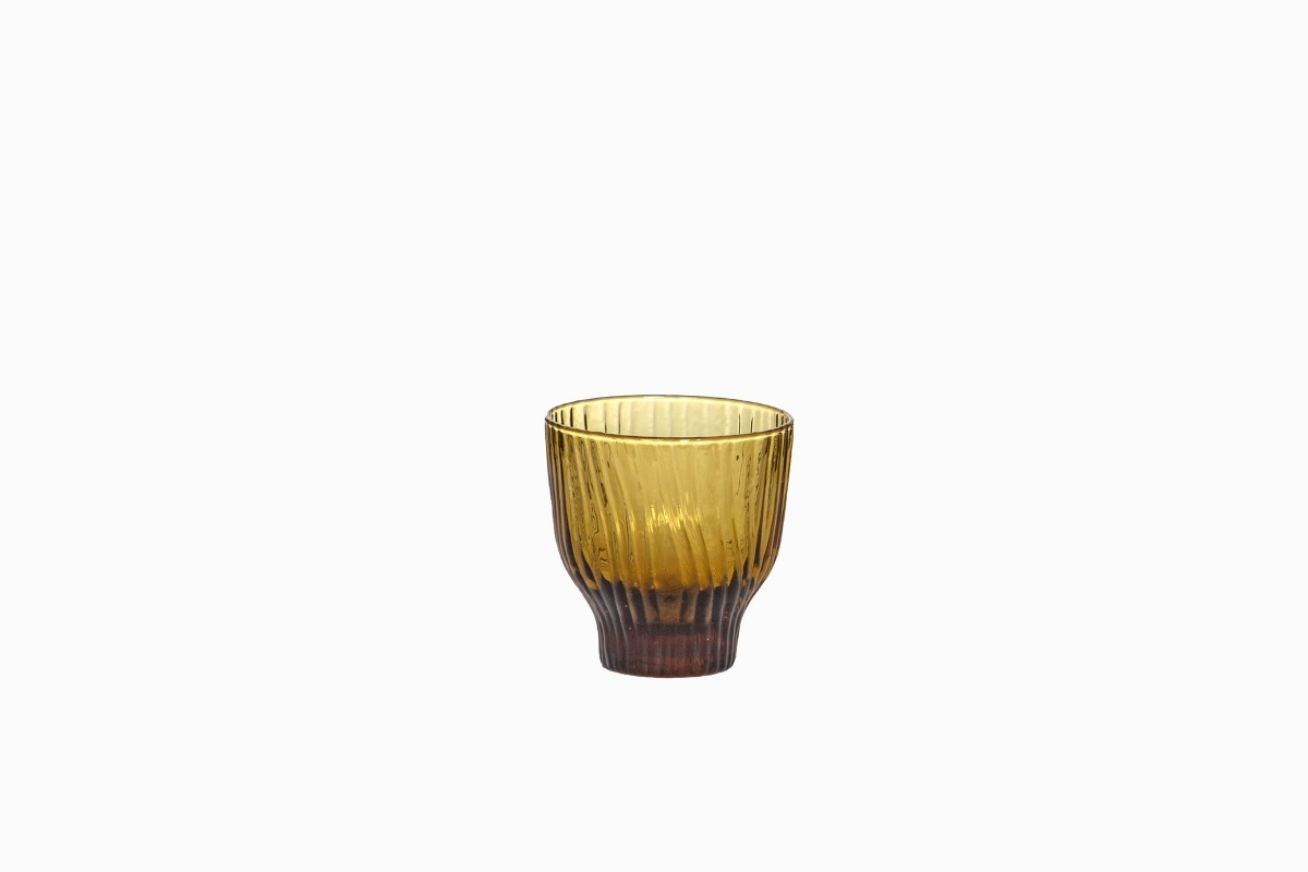 Grooved glass 250ml tumbler amber