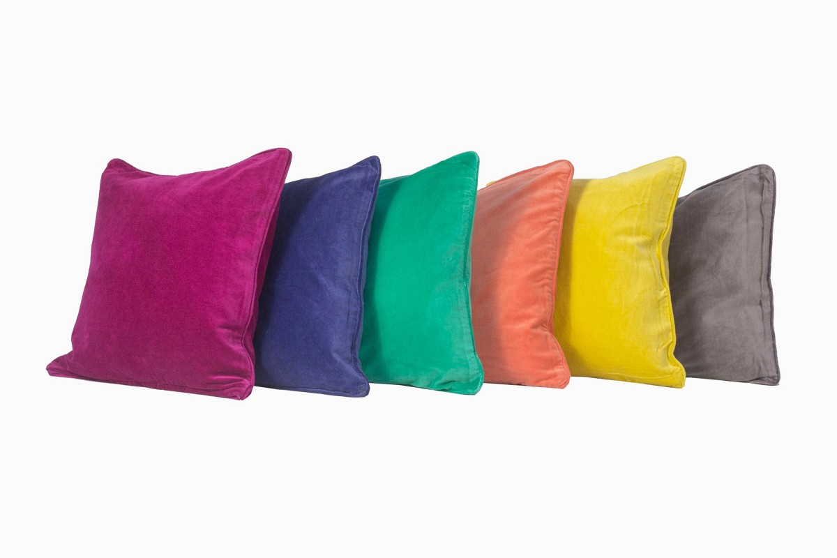 Velvet square cushions, fuschia, soft purple, emerald, soft orange, curry and soft grey