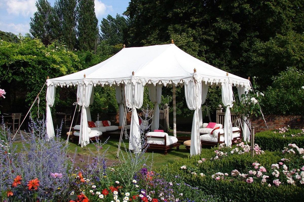Traditional Raj Tent in an English country garden