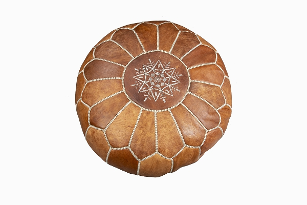 Leather pouffe natural oiled