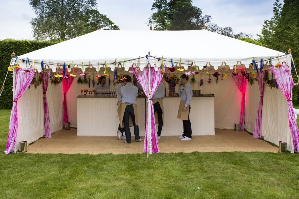 Metal frame Raj Tent used as a bar