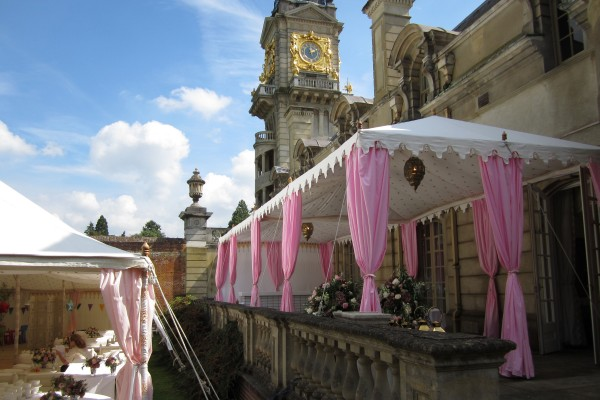 A double metal frame Raj Tent on the balcony at Cliveden