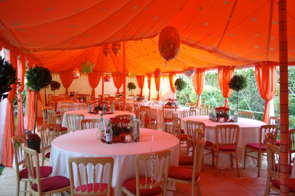 Double metal frame Raj Tent with orange interior