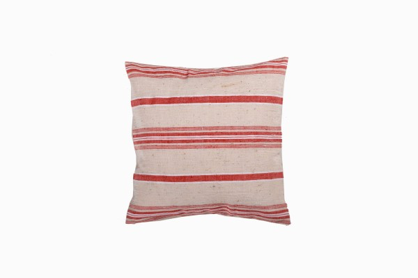 Turkish linen small square coral:cream cushion