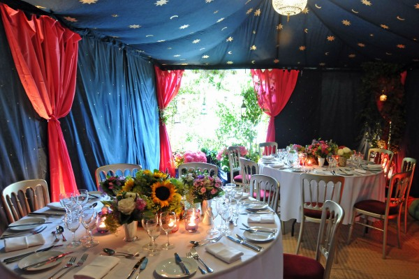Colourful Metal Frame Raj Tent at a private party in Scotland