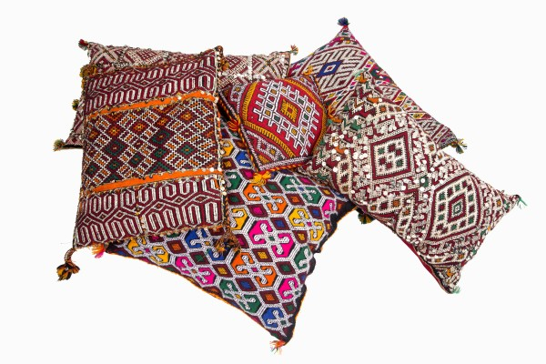 Embroidered Moroccan wool cushions