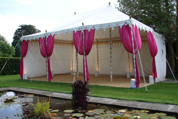 Traditional Raj Tent with pink drapes