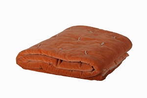 Quilted Velvet bed throw Orange