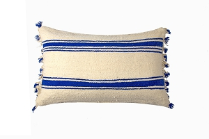 Berber wool pom pom cushion blue stripe 60cm x 40cm