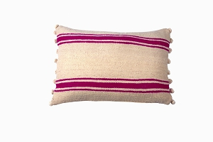 Berber wool pom pom cushion pink stripe 60cm x 40cm