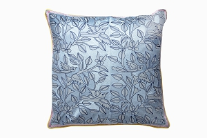 Blue embroidered bird cushion