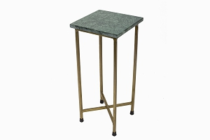Brass coloured metal and marble side table