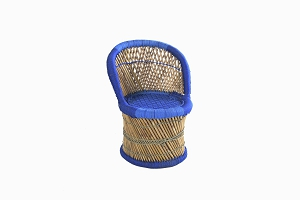 Childrens bamboo_cane chair blue