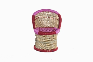 Childrens bamboo_cane chair pink