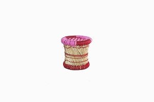Childrens bamboo_cane stool pink