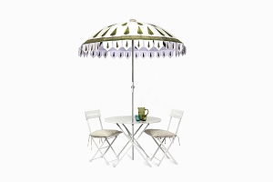 Cypress Parasol with bistro table and chairs (1)
