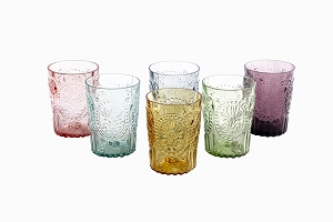 Decorative drinking glasses mixed colour