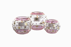 Egyptian glass candle holders pink
