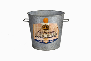 Galvanised steel bucket with French lable La Couronne