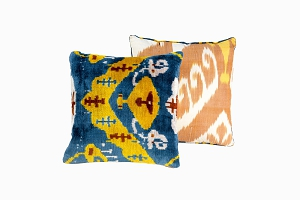 blue, yellow, brown patterned ikat silk velvet cushions