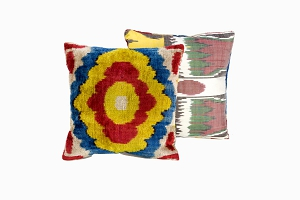 red, blue, yellow, silver, patterned ikat silk velvet cushions