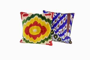 green, red, yellow, puple patterned ikat silk velvet cushions