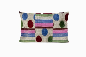 blue, pink, brown polka dot & lined patterned ikat silk velvet cushion