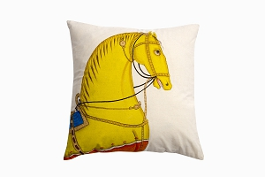 Kishangarh cushion Golden horse with blue looking right