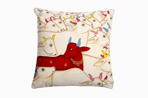 Kishangarh cushion red Holy Cow looking left