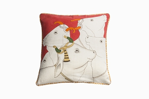 Kishangarh cushion red holy cow with edging 18in x 18in