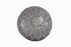 Leather Pouffe Grey