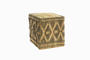 Moroccan square straw pouffe, taupe and natural