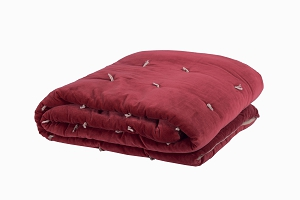 Quilted Velvet bed throw Raspberry