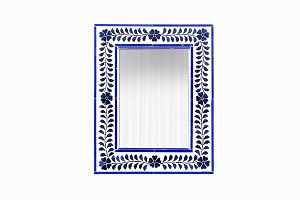 Small mirror with inlaid blue flowers and leaves