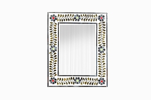 Small mirror with inlaid gold and silver flowers with coloured dots