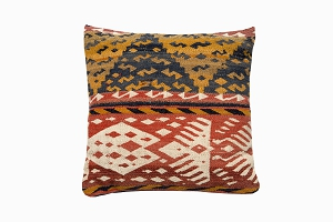 gold and red patterned uzbek pure wool antique kelim cushions