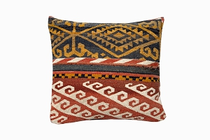 gold, brown, red & white patterned uzbek pure wool antique kelim cushions