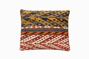 red, white gold, brown, patterned uzbek pure wool antique kelim cushions