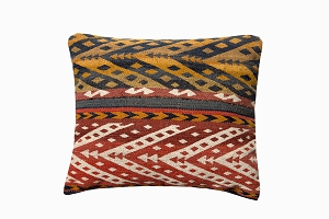 ochre, red & white patterned uzbek pure wool antique kelim cushions