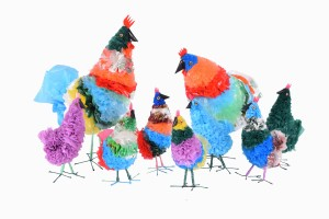 Plastic bag chickens group