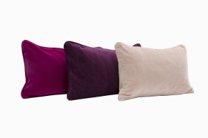 Velvet rectangular cushions, fuschia, aubergine and dusty pink