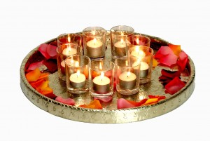 Silver metal tray with votives