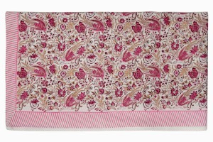 Large block printed cotton tablecloth rose pink