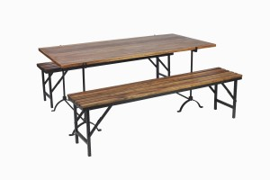 Wood and iron trestle table and benches
