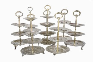 Silver metal cake stands