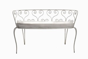 Deauville white metal love seat