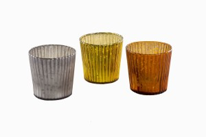 Glass votives with narrow grooves