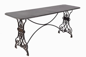 Zinc top table on french iron base